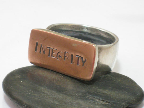 Unique Men's Ring,Ring With Letters,Silver Copper Ring,Chunky Ring,Mens customized Ring,Sterling Ring,Mixed Metals Jewelry,Ring For Him