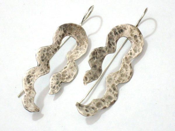 Minimalist Sterling Silver Snake Dangle Earrings.