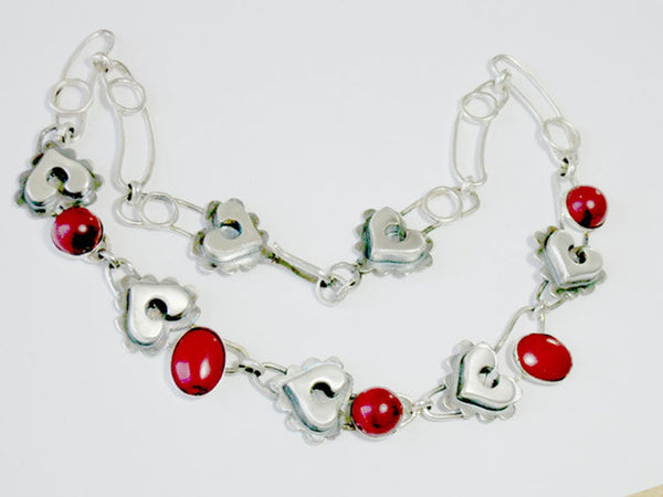 Silver Heart Coral Artisan Necklace