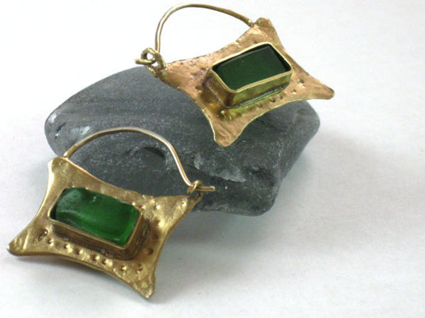 Gold Green Glass Two Sided Ear Hoops