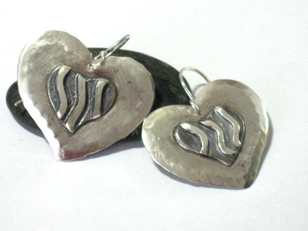 Large Silver Heart Sterling Dangle Earrings
