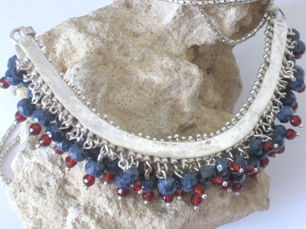 Artisan Silver Sapphire Red Agate Statement Necklace