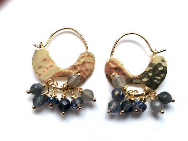 Gold Labradorite Hoop Earrings
