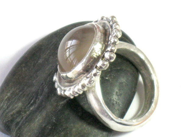 Unique Natural Moonstone Silver Ring