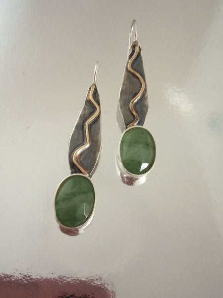 Two Tone Prehnite Stone Earrings.