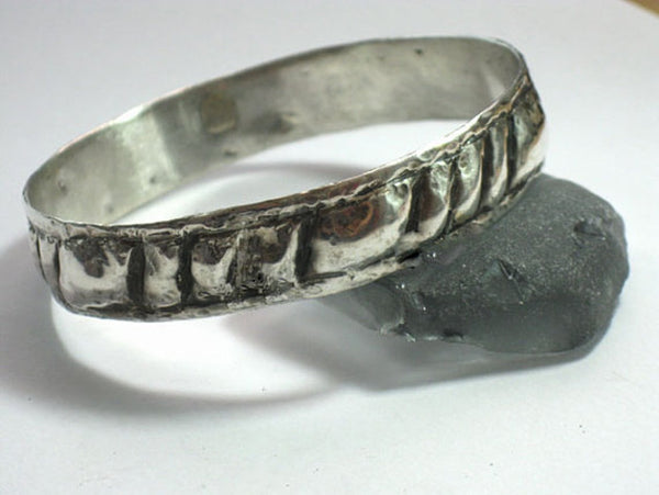 Double Layered Textured Silver Bangle