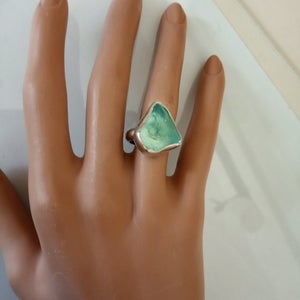 Silver Light Blue Sea Glass Ring.