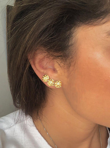 Gold Ear Climber Pin Earrings