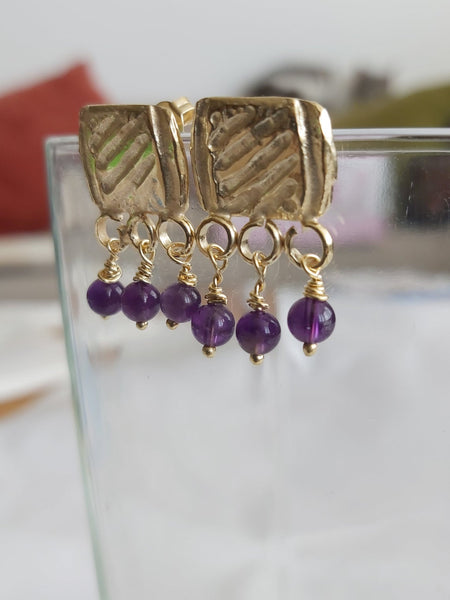 Gold and Amethyst Stud Dangles