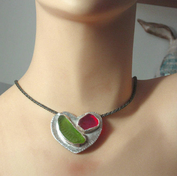 Silver Colorful Glass Statement Heart Necklace