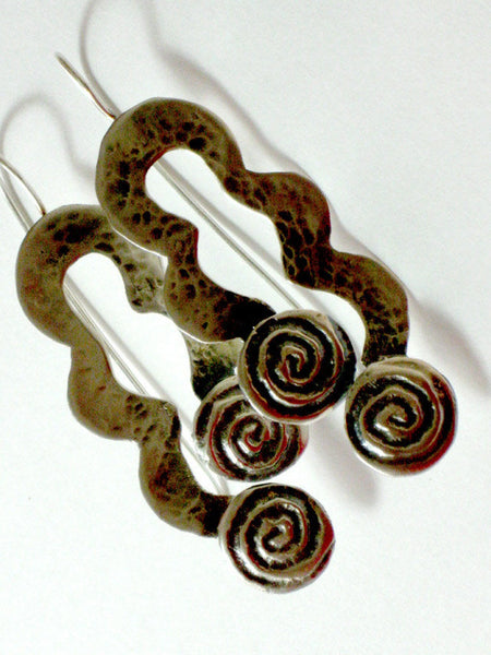 Long hammered Silver Dangles with Spirals.