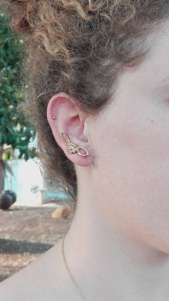 Flower Ear Cuff,Gold Earrings,Stud Earrings,Ear Climber,Leaf Earrings,18k Gold Plated,Sterling Silver,Nickel Free Jewelry,Gold Ear Cuff