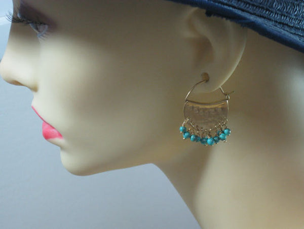 Dangly Turquoise Sterling Ear Hoops