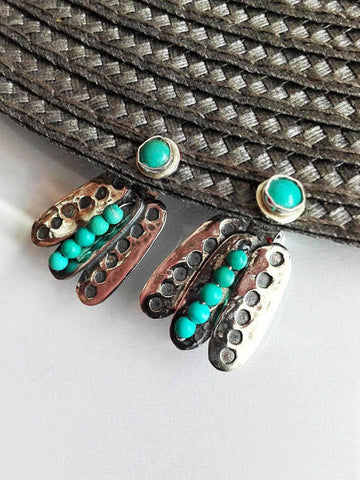 Stud Dangle Silver and Turquoise Ear Jackets