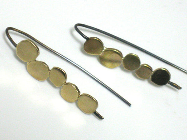 Gold Silver and Brass Dangle Earrings