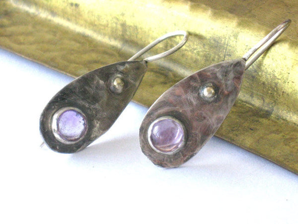 Amethyst Silver Gold Tear Drop Earrings