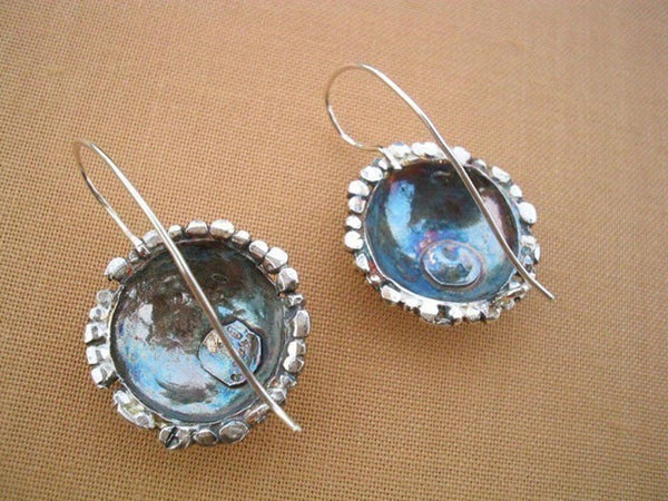 Silver Hammered Dangle Dome Earrings.