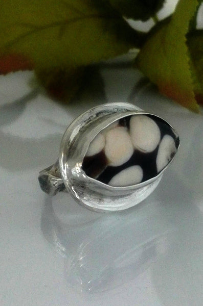 Eye Shaped Peanut Wood Sterling Ring