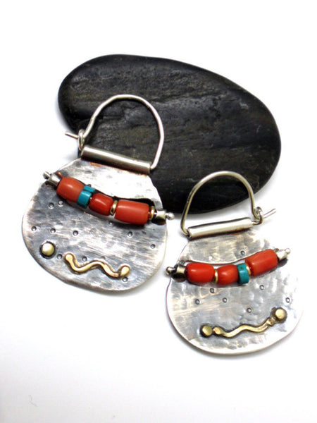 Modern Tribal Silver Gold Coral Hoops