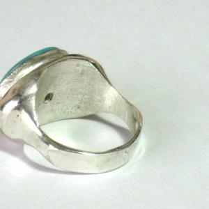 Silver Gold Oval Turquoise Ring