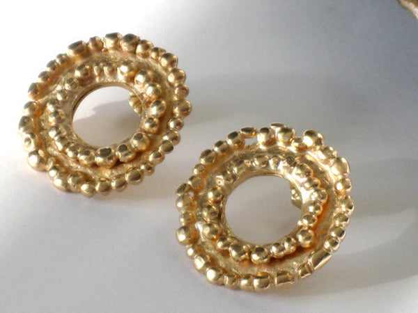 Round Gold Stud Earrings