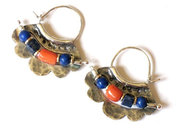 Beaded Sterling Hoops with Lapis Lazuli and Corals.