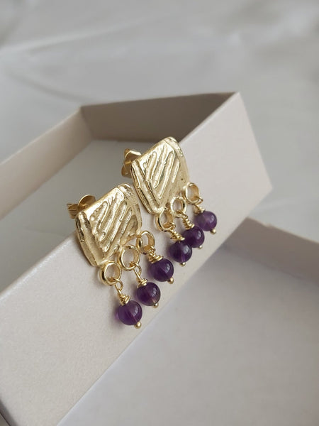 Gold Stud Dangles with Amethyst Beads