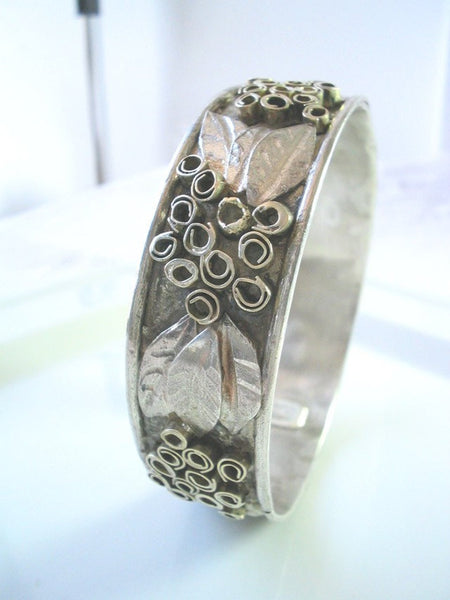 Silver Gold Bangle Bracelet, Sterling Silver Bangle Bracelet, Artisan Jewelry,