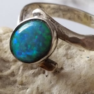Sterling Opal Ring, Silver Opal ring, Opal Stone Ring, Blue Opal Ring, Light Blue Ring, Sterling Opal Ring, Delicate Silver Opal ring,