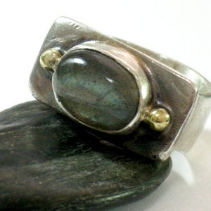Two Tones Labradorite Silver Gold Ring