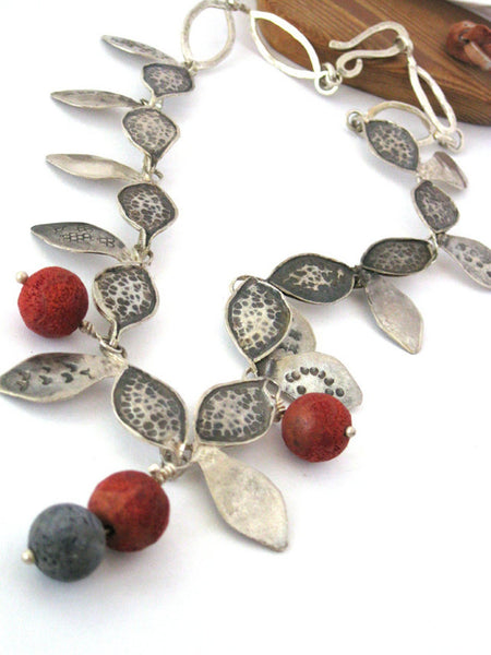 Unusual Hammered Silver Coral Necklace