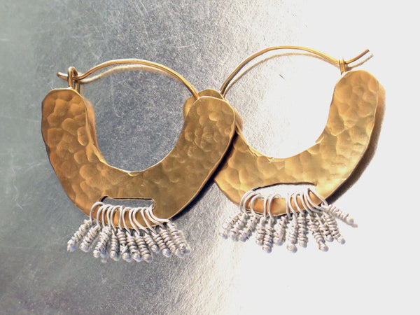 Large Crescent Gold Hoop Earrings
