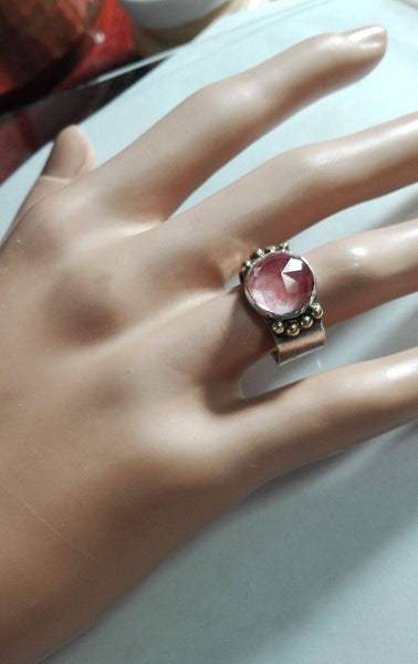 Silver Gold Cherry Quartz Stone Ring.