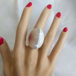 Unusual Oval Agate and Silver Ring