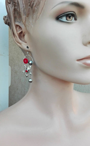 Red Coral Sterling Dangle Earrings.