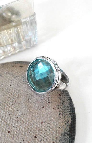 Large Silver London Blue Topaz Ring.