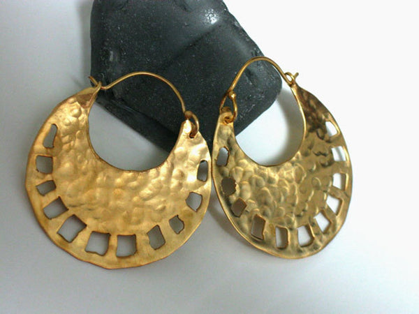 Large Tribal Round Gold Hoops