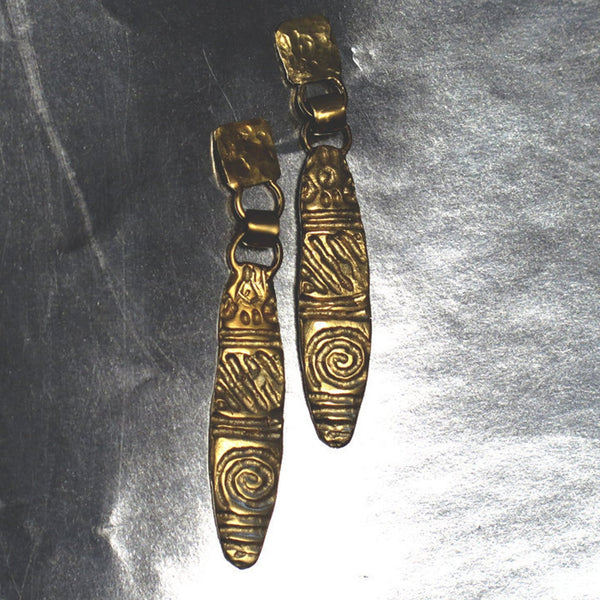 Long Textured Gold Leaf  Earrings
