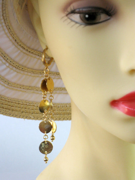 Wedding Long Gold Chain Earrings