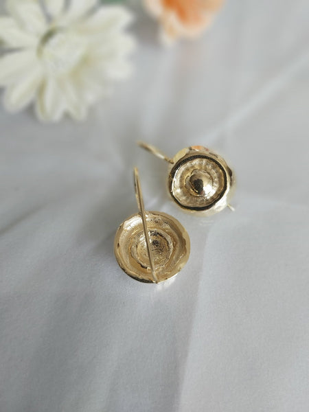 Round Earrings,Round Dangles,Simple but Elegant,Minimal and Unique,Gold Earrings,Hammered Jewelry,Button Dangles,Gift for Friend