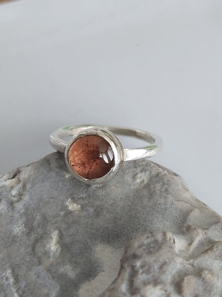 Minimalist Solitaire Peach Tourmaline Ring