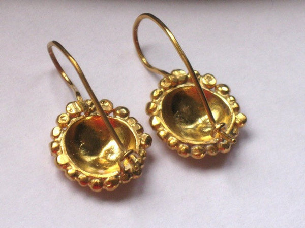 Small Round Gold Dangle Earrings