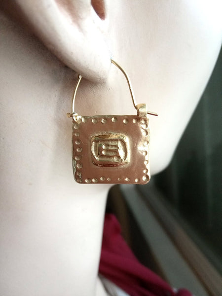 Rectangle Two Sided Gold Hoop Earrings