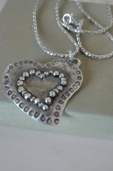 Statement Sterling Heart Pendant Necklace