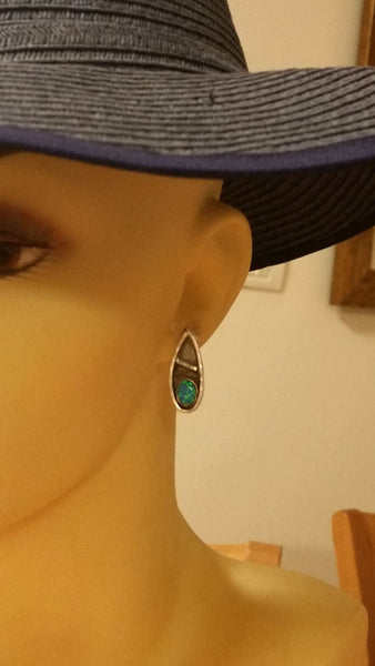 Sterling Stud Earrings With Opal Stones