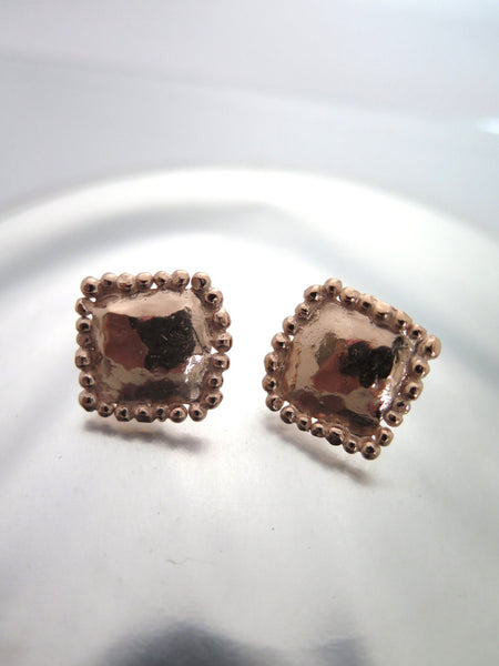 Square Statement Rose Gold Ear Studs