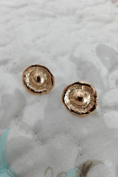 Gold Round Ear Lobe Ear Studs