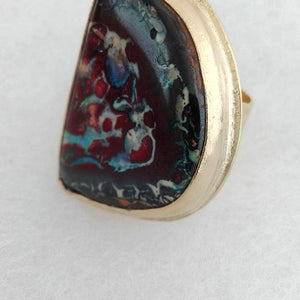 Large Opal Stone Gold Ring