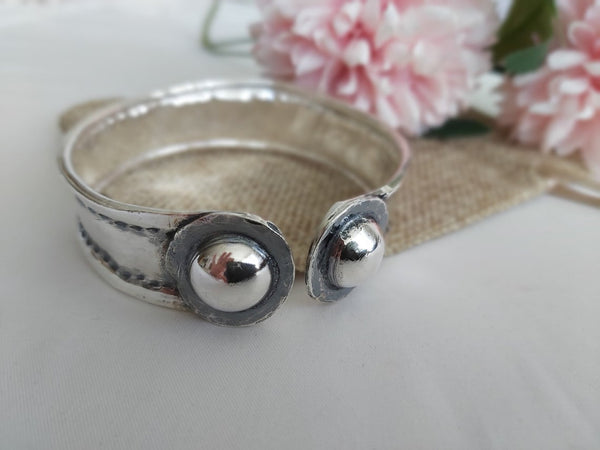 Hammered Solid Sterling Silver Cuff Bangle Bracelet