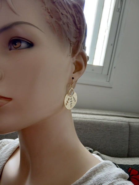Large Gold Crescent Cut Out Ear Dangles